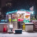 Hot Dog Stand On Snowy Night